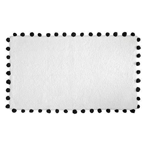 iDesign Pom Pom tapis de bain doux, sortie de douche rectangulaire en coton, blanc et noir