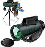 Monokular Fernglas IVSUN 10x42 HD Monokular Teleskop Wasserdicht Handy Fernrohr mit Handy Halterung Stativ für Vogelbeobachtung, Wildtier, Camping, Wandern, Ballspiel
