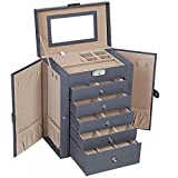 SONGMICS Jewelry Box, 6-Tier Large Jewelry Case with Drawers, Mirror and Lock, Storage Organizer for Bracelets Earrings Rings Necklaces Watches, Gift (Gray)
