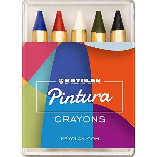 Kryolan Pintura Crayons Schminkstifte, 5 Farben, ohne Parfüm, glutenfrei - ideal für Kinderschminke, Party, Karneval, Fasching & Halloween
