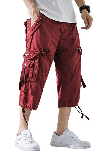 chouyatou Men's Outdoor Multi-Pocket Straight Leg Twill Beach Capri Cargo Shorts (36, Red)