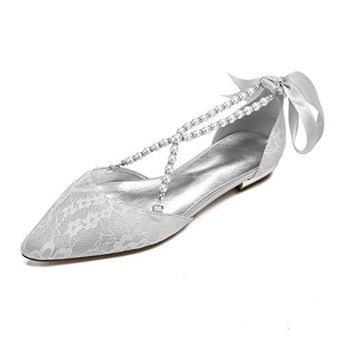 Zapatos Boda Planos para Mujer, Puntiagudos Encaje con Perlas Correa Zapatos De Fiestas Novia 5047-36B,Sliver,4 UK/37 EU