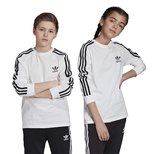 adidas Originals Unisex-Kinder 3-Stripes Long Sleeve Tee Hemd, weiß/schwarz, Klein
