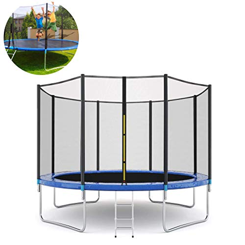 Trampoline for Kids, Easy Assembly Outdoor Trampoline with Safety Enclosure Net Foam Mat Safety Pads and Ladder