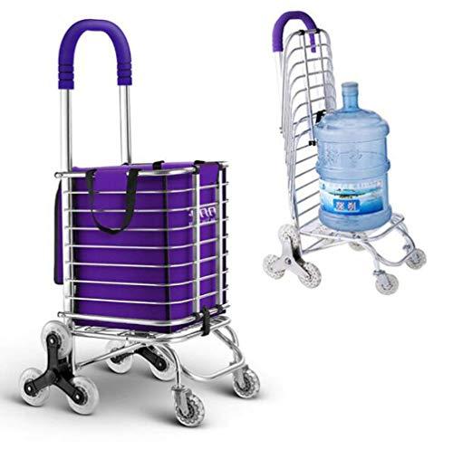 Carrito de compras con ruedas de gran capacidad,carrito de compras plegable con bolsa impermeable extraíble,carrito de compras duradero de 8 ruedas con marco de aleación de aluminio para escalera Cl