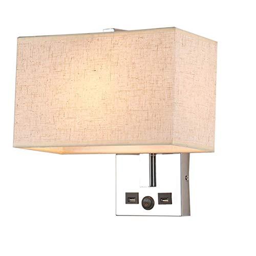 Lámparas de pared industriales, moderno tejido de lino cuadrado cromado con doble puerto de carga USB Botones de control Lámpara de pared Decoración del hotel Hogar Sala de estar Dormitorio