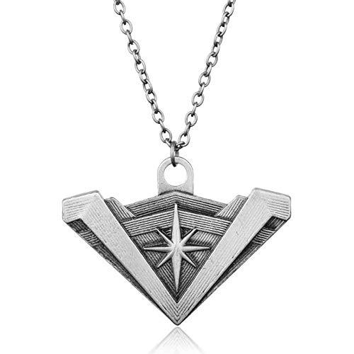 YHK Wonder Woman Logo Necklace,Super Hero Symbol,DC Comics Superhero Wonder Woman Logo Necklace (Silver)