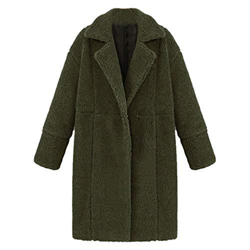 HaiDean Abrigo De Invierno para Mujer Bolsillo Largo Teddy Modernas Casual Fleece Solapa Chaqueta De Felpa Parka Moda 2020 Ropa De Mujer (Color : Green, One Size : S)