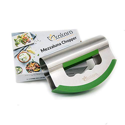 2Kokoro Mezzaluna Salad Chopper Double Blade-Stainless Steel Mezzaluna Knife-Protective Cover-Ergonomic Handle-Double Blade Salad Cutter-Rocking Knife Chopper Vegetable-Mincing Herb for Quick Salad