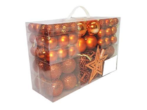 Geschenkestadl 1728S 100 Weihnachtskugeln und Baumspitze Stern (Orange)