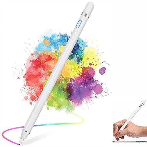 Dupelec Penna per Tablet,Pennini per Touch Screen Stylus Penna per iPad TabIet Punta Fine USB Ricaricabile Penne Universale per iPad,Smartphone,Touchscreen e TabIet (Blanco)