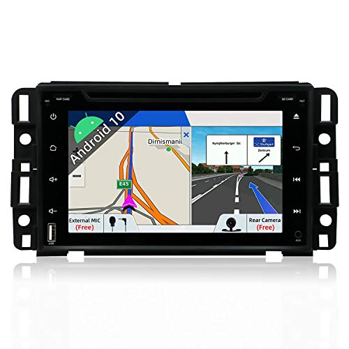Android 9.0 Double Din Car Stereo for GMC Chevy Silverado 1500 07-12/GMC Sierra 07-13/GMC Acadia 07-13/GMC Yukon 07-13/Chevy Express Van 08-11/Chevy Suburban 07-12/Chevy Tahoe 07-12 | Camera & Canbus