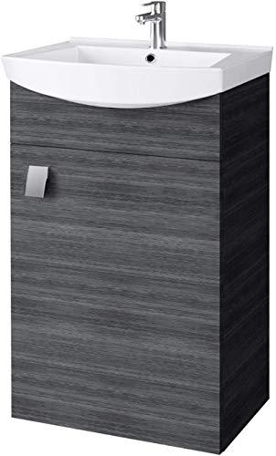 Planetmöbel Waschbecken mit Waschbeckenunterschrank/Waschtisch-Unterschrank 44cm Gäste Bad WC (Weiß)