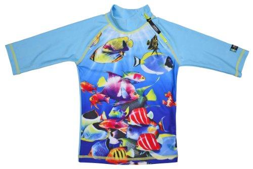Swimpy Mädchen UV Schutz Badeshirt Fisch, Turquoise, 1.5-2 Jahr