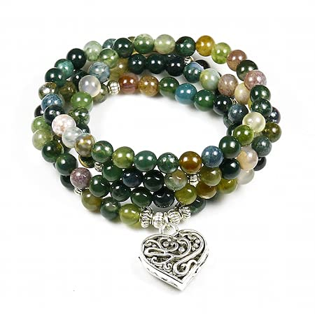 PPuujia Pulsera de cristal para mujer, ónice indio de 108 cuentas de Mala, pulsera de múltiples capas de loto para yoga, para hombres, Buda, color metálico: 4