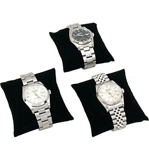 FindingKing 3 Black Velvet Watch & Bracelet Pillow Jewelry Displays