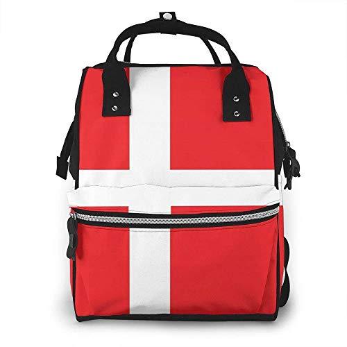Dinamarca Bandera Danesa Bolsa de pañales Mochila Impermeable Multifunción Bebé Cambiador Bolsas de Maternidad Pañales Bolsas Durables de Gran Capacidad para Mamá Papá, Viaje Bebé Cuidado