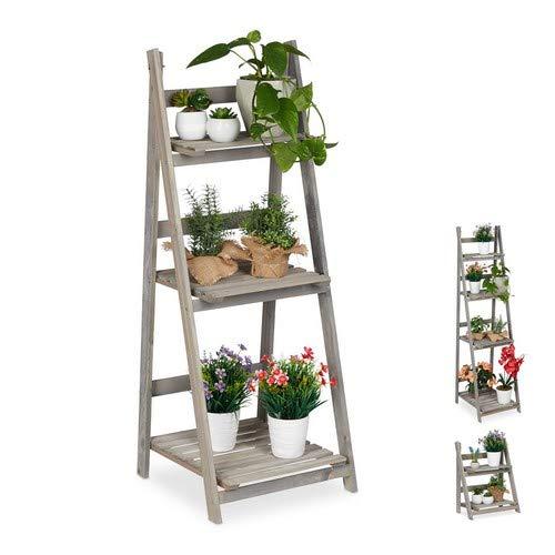 Relaxdays Blumentreppe, 3-stufig, Blumenleiter Holz, klappbar, Leiterregal für Pflanzen, HBT: 108 x 41 x 40 cm, grau
