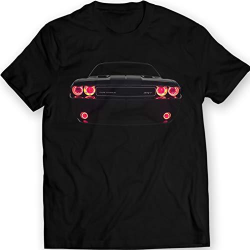 Challenger SRT Muscle Racing Car T-shirt 100% Cotton (XL, Black)