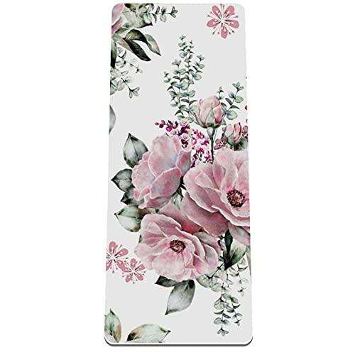 PLOKIJ Esterilla de yoga TPE, tapete de ejercicio de 1/4 pulgadas de grosor, antideslizante con correa de transporte para yoga, gimnasio y ejercicios de piso, flores florecen rosa 80 x 183 x 0,8 cm