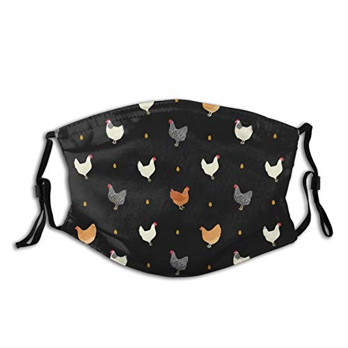 Cute Chicken & Hens Face Mask Fashion Adult Scarf, Reusable Washable Bandana With 2 Filters, For Men & Women