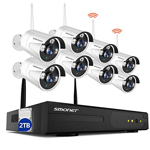 【2TB Hard Drive Pre-Installed】 SMONET H.264+ Security Camera System Wireless,8CH Full HD 1080P Home Surveillance Systems, 8pcs 2.0MP Outdoor&Indoor Wireless IP Cameras,P2P, Free APP,Easy Remote View