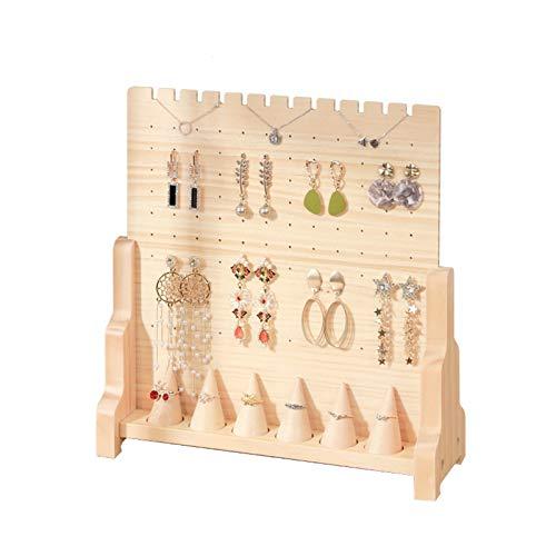 Soporte de exhibición de aretes de madera maciza Soporte de exhibición de aretes de aretes creativos Soporte de joyería Caja de anillo simple Soporte de exhibición de joyas,A