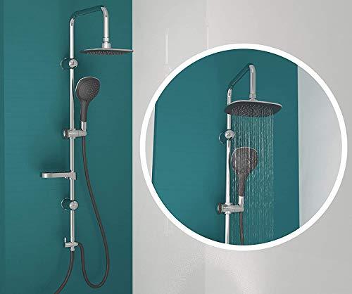 EISL Duschset DUSCHTRAUM Duschsäule mit Regendusche 200 x 200 mm und Handbrause, Duschsystem ideal zum Nachrüsten durch Nutzung vorhandener Bohrlöcher, DXLD60088CS, Chrom/Schwarz