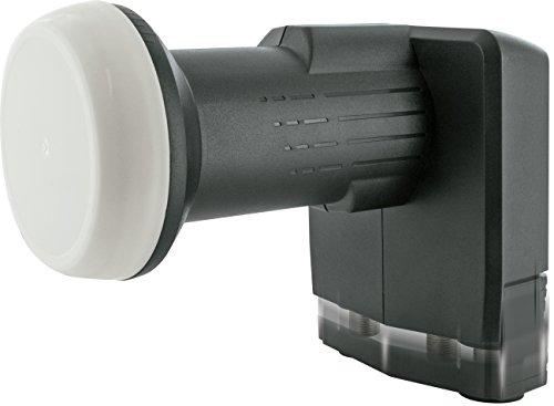 SCHWAIGER -5101- Unicable Quad LNB, digital (4 Teilnehmer + 2 Teilnehmer), für den Einsatz mit Satellitenschüssel, multifeed-tauglich mit Wetterschutz, Anthrazit