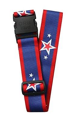 Orb Travel Premium Designer Luggage Strap Suitcase Strap Luggage Strap/Packing Tape 2?m x 5 cm Blue/Red/White Stars & Stripes