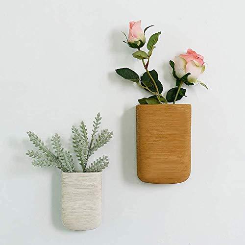 KMILE Moderna Pared geométrica Colgante de Baloncesto con Flores Artificiales Florero de cerámica Jarrón de cerámica Can Wall Decor Contenedor para Succulentos de Interior Cactus E 6 Piezas