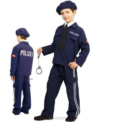 Polizei Austria 2tlg mit Mütze u Krawatte Polizist Jungen Kinder Kostüm Gr 116