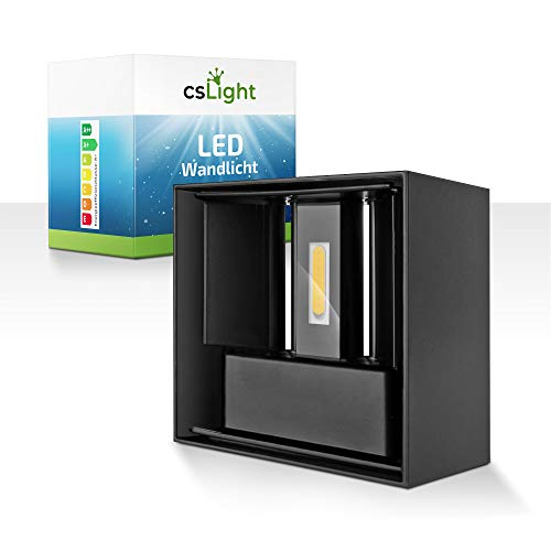 CS Light Aplique de pared interior y exterior – resistente al agua – [3000] K – [700] lúmenes – Sin parpadeo y bajo consumo