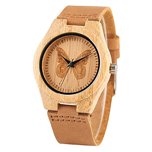 CAIDAI&YL Aguafuerte Pantalla de Mariposa Madera de bambúReloj de Pulsera de Cuero para Mujer Movimiento de Cuarzo Relojes de Madera de Moda para Mujer, Solo Reloj