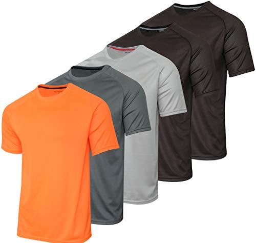 5 Pack:Boys Mesh Crew T-Shirt Girls Youth Teen Active Wear Athletic Quick Dry fit Dri-Fit Moisture Wicking Performance Basketball Gym Sport Short Sleeve Undershirt Tee Raglan Top -Set 7,Large 12-14