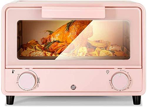 Lloow Mini de la hornada del hogar Horno pequeños aparatos eléctricos multifuncionales tortas de Pan automática 13 litros de 750 vatios, Control de Temperatura de Color Rosa de los Tubos Superior