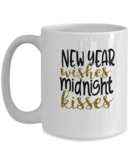 N\A Año Nuevo 2020 Taza-Café Taza de té Ideas de Regalos novedosos Taza de café Deseos de la víspera Feliz Besos de Medianoche
