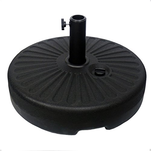 "Sunnyglade Heavy Duty 23L Round 20"" Water Filled Patio Outdoor Umbrella Base Stand Weight with Steel Umbrella Holder Suit for Dia 38mm or 48mm Umbrella Pole (Black)"