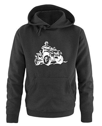 Comedy Shirts - Quad ATV - Herren Hoodie - Schwarz/Weiss Gr. L