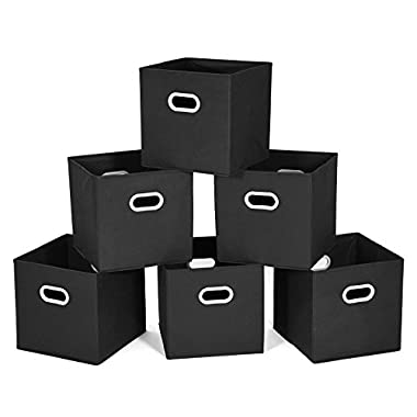 MaidMAX Cloth Storage Bins Cubes Baskets Containers with Dual Plastic Handles for Home Closet Bedroom Drawers Organizers, Foldable, Black, Set of 6
