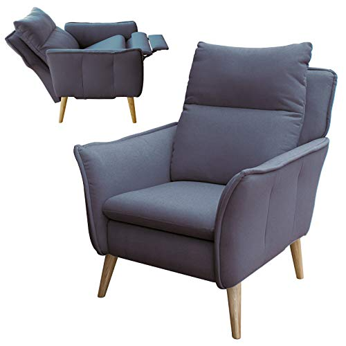 place to be Hochwertiger Relaxsessel Fernsehsessel Insideout Schlaffunktion Dunkelgrau Grau + 16 Farben + Eiche + Buche