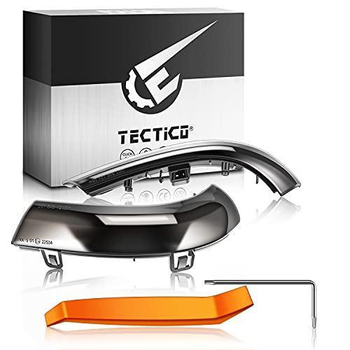 TECTICO LED Dynamischer Blinker Rückspiegel Spiegel Seitenblinker E8 Prüfzeichen Gelb Ultra Heller 12V Auto Blinkleuchte für Golf5 GTI MK5 Pa-ssat B6 B5.5 EOS Je-tta Sha-ran, 2 Lampen