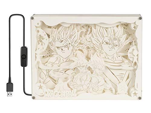 CoolChange Dragon Ball Diorama Leuchtkasten mit Farbiger Beleuchtung, Motiv: Son Goku & Vegeta