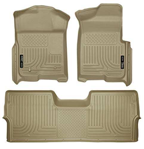 Husky Liners 98333 Fits 2009-14 Ford F-150 SuperCrew without Manual Transfer Case Shifter Weatherbeater Front & 2nd Seat Floor Mats (Footwell Coverage), Tan