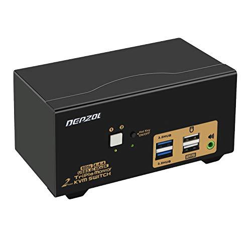 DEPZOL Conmutador KVM de 2 Puertos USB 3.0 Triple Monitor HDMI 4K...