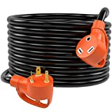 PowerSource 25ft 30Amp Heavy Duty RV Extension Cord, Easy Grip Unplug Design with Cord Organizer
