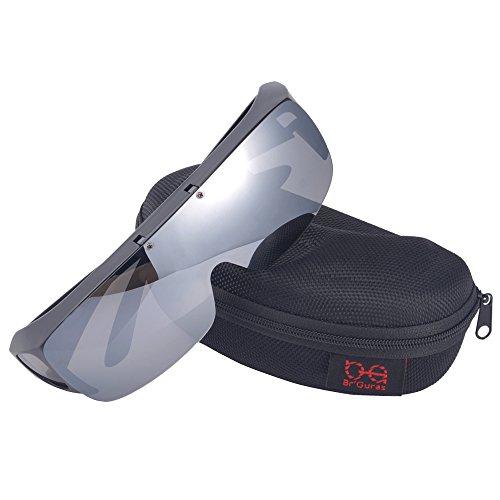 Br'Guras オーバーグラス 偏光サングラス メガネをかけたまま対応のサングラス 跳ね上げ式 UV400 紫外線カット サイクリング、釣り、ランニング、野球 格好いいサングラス! (グレー)