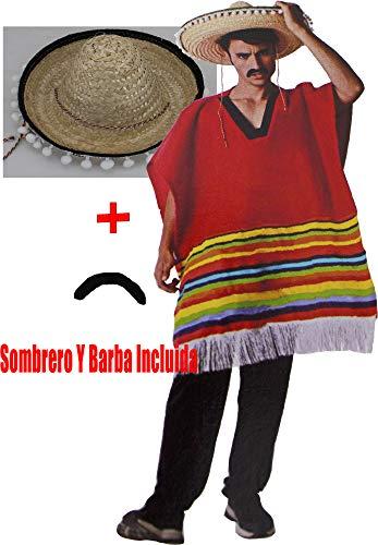 Gojoy Shop- Disfraz Y Sombrero de Mejicano para Hombres Carnaval (Contiene Sombrero, Barba y Poncho, Talla Unica)