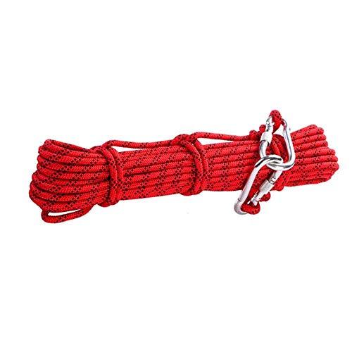 Montañismo Cuerda diámetro de la cuerda al aire libre Senderismo 8Mm Rescate Seguridad del equipo de supervivencia del campo Suministros bloqueo de la libre y la bolsa de almacenamiento, Rojo, a 20 me