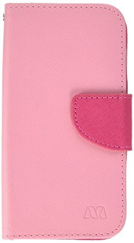 Asmyna Moto E 2nd Generation MyJacket Geldbörse mit Kartenfächern, in Einzelhandelsverpackung, Pink Gemustert/Pink Liner